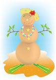 Snowman. On his summer vacation Royalty Free Stock Photo
