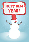 Snowman. Happy new year greeting card Snowman Stock Images