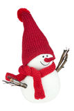 Snowman. With red scarf and red cap Stock Photos