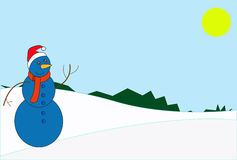Snowman. Blue snowman, snow and sun. Day royalty free illustration