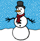 Snowman. In snowy winter landscape Royalty Free Stock Photos