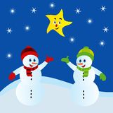 Snowman. Two snowmen with smiling moon Stock Illustration