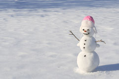 Snowman. With carrot nose, and coal eyes/mouth on snowy field Royalty Free Stock Images