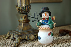 Snowman. Vintage snowman decoration for the winter season stock photos