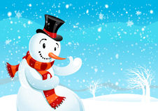 Snowman. On winter background with space for text Royalty Free Stock Photo