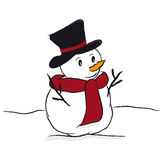Snowman. In the white snow Royalty Free Stock Images