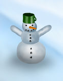 Snowman. Happy snowman with green pot Stock Image