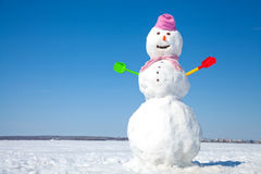 Snowman. Real big snowman blue sky background Stock Photos