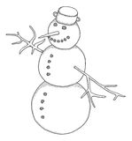 Snowman. Hand drawn snowman,  illustration Royalty Free Stock Photo