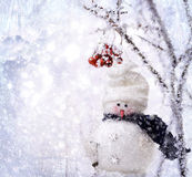Snowman. In the forest. New Year Royalty Free Stock Images