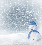 Snowman. Christmas Greeting Card with snowman Stock Images