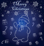Snowman. Cheerful snowman on a blue background with snowflakes Stock Photo