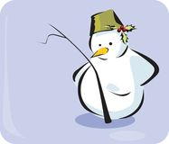 Snowman. Making utensil a hat on grey back ground Royalty Free Stock Images