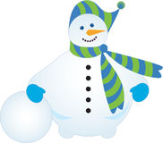 Snowman. With striped scarf and cap Stock Images