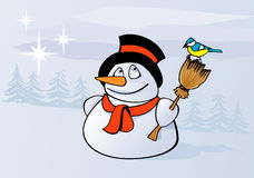 Snowman. Tit and snowman in winter landscape Royalty Free Stock Image