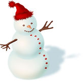 Snowman. With a red hat Stock Image