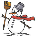 Snowman. With Broom and Hat Stock Photo