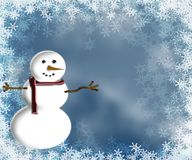 Snowman. With snowflakes royalty free illustration