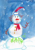 Snowman. Illustration of Snowman in red hat. Watercolor drawing made by child Stock Image