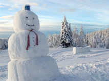 Snowman. Who stands among the snow-covered trees in Finnish Lapland royalty free stock photo