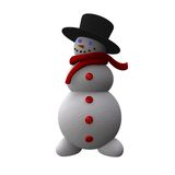 Snowman. Cute 3d snowman image on white Royalty Free Stock Photo