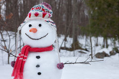 Snowman. Happy snowman outside against forest background Stock Image