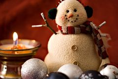 Snowman. And Christmass decorations stock photo