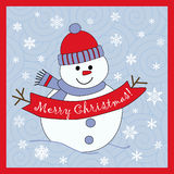 Snowman. Cute snowman wishing Merry Christmas Stock Image