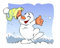 Snowman. Cute snow man is happy Royalty Free Stock Images
