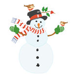 Snowman. An illustration of a snowman with robins sat on him Stock Photo