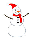 Snowman. Happy snowman wearing santa hat and red scarf Royalty Free Stock Image