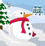 Snowman. A snowman in a winter scene stock illustration