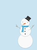 Snowman. Cute snowman illustration with a top hat, carrot nose, scarf and button on a light blue background. Also available as a vector file royalty free illustration