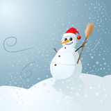 Snowman. Happy snowman and red hat Royalty Free Stock Images