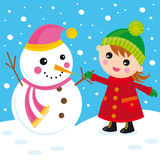 Snowman. Illustration of little girl with her friend snowman Royalty Free Stock Photo