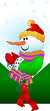 Snowman. Vector illustration of snowman with ribbon and snowflakes Stock Photos
