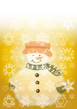 Snowman. With snowflakes on a Royalty Free Stock Photos