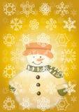Snowman. With snowflakes on a Stock Photos