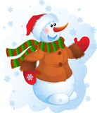 Snowman. Vector illustration - snowman in a striped scarf Stock Photo