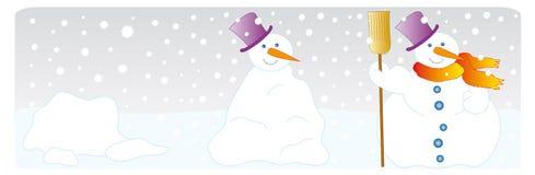 Snowman. In the construction sequence Stock Photos