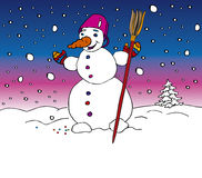 Snowman. Banner illustration with smile snowman Stock Image