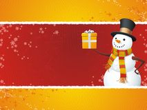 Snowman. A fully scalable vector illustration of Snowman with gift. Happy holidays Royalty Free Stock Images