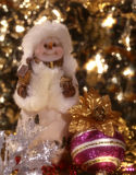 Snowman. Frosty snowman in Christmass decoration surrounding objects royalty free stock photography