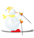 Snowman. A vector illustration, snowman wearing yellow wrap and cap skiing Royalty Free Stock Photo