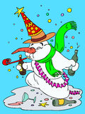 Snowman. Cartoon snowman partying and celebrating the new year vector illustration