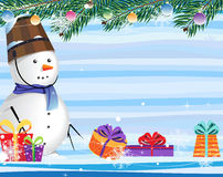 Snowman on a abstract striped background Stock Image