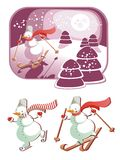 Snowman in action_Christmas Stock Photography