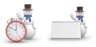 Snowman with alarm clock and snowman with calendar. New year and christmas comes Stock Photography