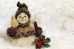 Snowman all dressed up stock photos