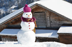 Snowman in the Alps Stock Image